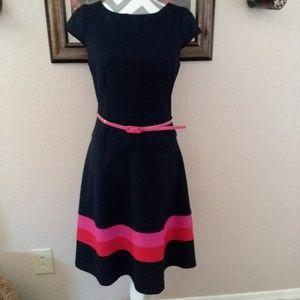 Anne Klein Black Fit Flare Striped Belt Dress 8